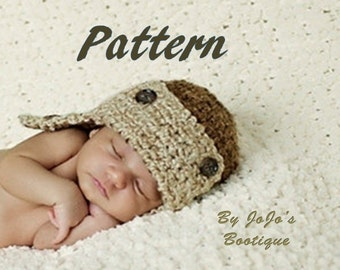 PATTERN - Baby Aviator Pattern - Chunky Aviator Hat - Boy's Crochet Hat Pattern - Instant Download-by JoJosBootiqueC