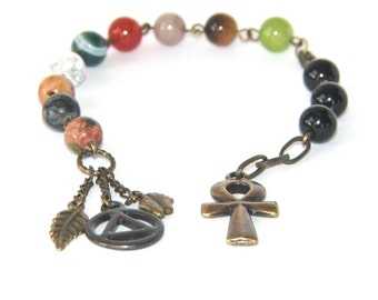 Recovery 12 Step Prayer & Meditation Beads, Gemstone Beads, Ankh and Unity Charms