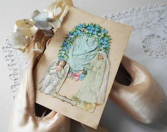 1800s French Antique Holy Communion Card Souvenir Prayer Card