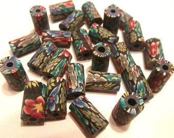 30 Fimo Polymer Clay Tube Beads Black Red  Flowers Print Flower 11mm