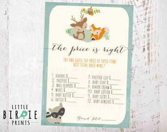 WOODLAND Baby Shower Game The Price Is Right Template Fox Deer Racoon BOY Invitation Available INSTANT Download Woodland baby shower game