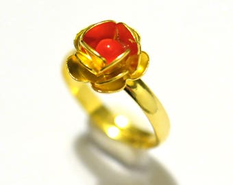 Adjustable ring gold and Red Rose bright collection