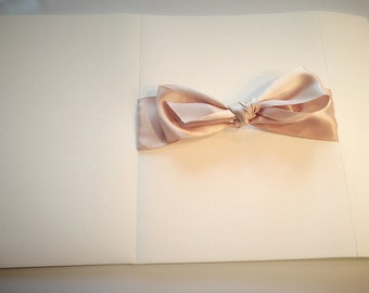 Bow Ribbon Script Wedding Invitations With Pocketfold