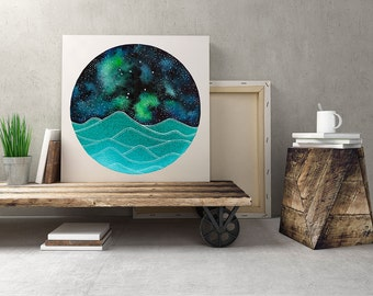 The Libra Constellation above the ocean waves print, Instant Download, Libra Art, Galaxy Painting, Zodiac Art, Libra Print Digital Download