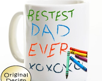 Father's Day Gift From Child - Best Dad Ever - Crayons Daddy Travel Mug