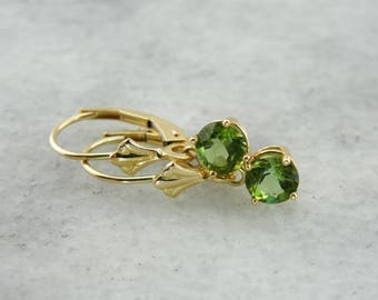 Simple Green Tourmaline Drop Earrings KFHW8N-R