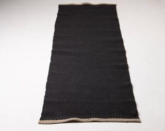 Dark gray cotton rug, floor runner, fitness, washable cotton mat, handmade on the loom, soft, reversible,