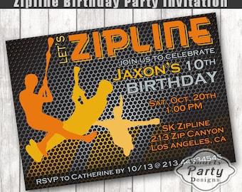 Zipline invitation custom printable teen boy birthday party zipline birthday invitation boy party invite printable personalized 4 x 6 or 5 x 7 stopboris Gallery