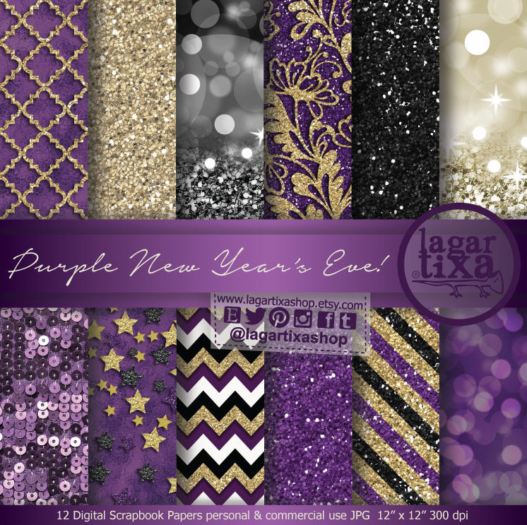 Feliz Año Nuevo Púrpura Morado Oro Negro y Dorado Fondos
