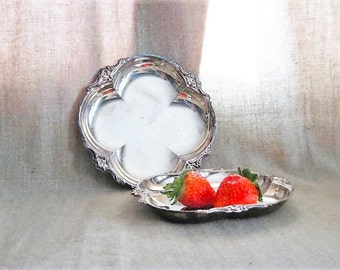 Silver Plate Trinket / Candy Dish / Pair of Shabby SILVER PLATE Dishes for Vanity, Home or Wedding Decor