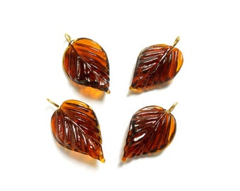 4 Amber Glass Leaf Drop Beads With Embedded Brass Loop - 28-18-A