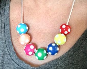 Polka Dot Necklace, Spotty Necklace, Spots Necklace, Beaded Necklace, Bead Necklace, Pastel Necklace