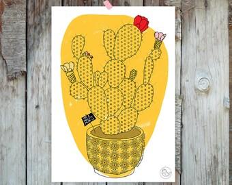 Illustrazione stampabile di un cactus disegnato. Illustrazione folk digitale di pianta grassa fiorita dentro un vaso – Instant Download