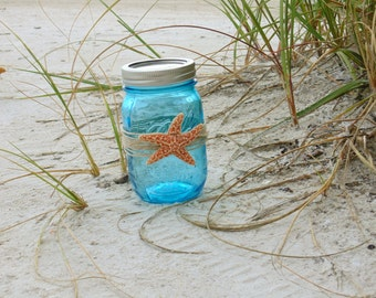 Wedding Decor,  Blue Mason Jars Fish Net & Sugar Starfish, Beach Wedding Decor, Nautical Jars, 3