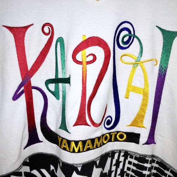 Rare Vintage Designer Kansai Kansai Embroidery AllOver Print Pop Full Spellout Pullover Sweatshirt O2 Arts Yamamoto Japanese Designer q4R1rxq