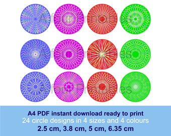 Geometric linear mandala digital circles printable collage sheet, 24 designs 4 sizes, 4 colours for paper crafts cards scrapbooking CM-GL-3