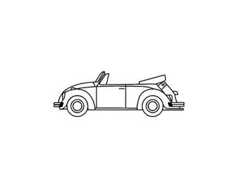 VW volkswagen convertible bug beetle rubber stamp