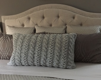 Cable Knit Lumbar Pillow Cover- King Size - Custom Color