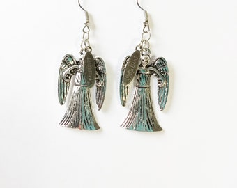 "2"" Weeping Angel earrings whovian inspired antique silver"