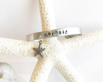Mermaid with starfish  charm Hand Stamped Bracelet cuff hypoallergenic aluminum gifts for her surfer beach babe wahine mermaids beachy