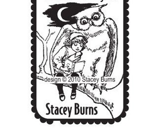 Fairy Tale Owl with Little Girl Personalized Ex Libris Bookplate Rubber Stamp G19