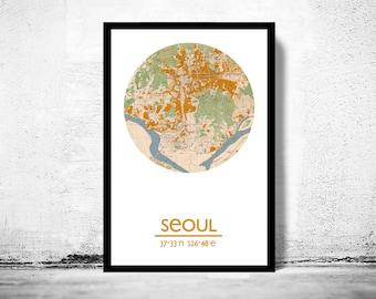 SEOUL - city poster - city map poster print