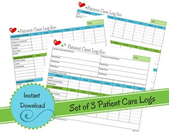 Weekly In Home Patient Care Log - Elderly Home Care - Patient Care Chart - Patient Care Documentation - Patient Care Report-Instant Download