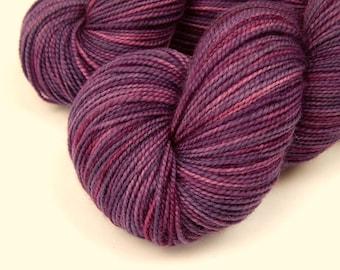 Hand Dyed Yarn, Sock Weight Superwash Merino Wool - Deep Lilac Tonal - Indie Dyed Fingering Weight Knitting Yarn, Sock Yarn, Purple Violet