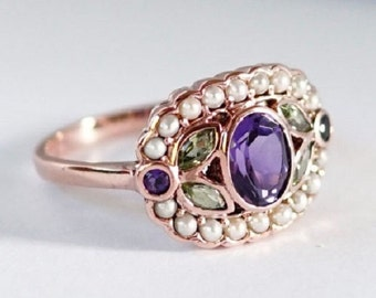 R296 Genuine 9K Yellow Rose or White Gold Natural Amethyst, Peridot & Pearl Suffragette Cluster Ring Feminist Vintage Victorian style