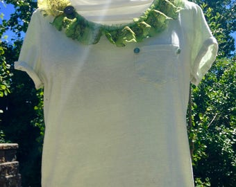 Upcycled Green Ruffle-Neck Tee – Size XS/S