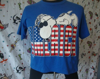 Vintage 80's SNOOPY America Peanut's Gang 4th of July belly half T Shirt Sz M