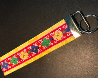 Colorful ribbon and fabric key fob