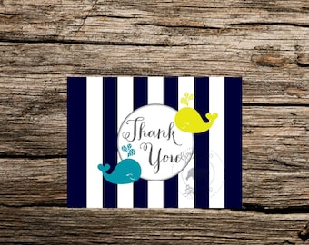 Yellow Whale Thank you Notecard