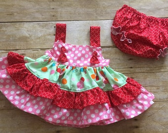 Baby Girl 6-9 Month Knot Top with Made to Match bottoms - Flowers - Ready to Ship