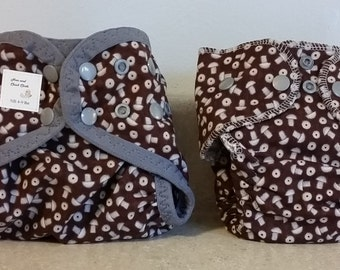 Preemie Newborn Cloth Diaper & Diaper Cover Set-  4 to 9 pounds- Nuts and Bolts- 29004