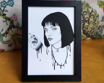 Pulp Fiction Mia Wallace Uma Thurman Quentin Tarantino A5 Art Print Original Illustration Movie Film