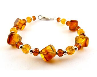 Baltic Honey Amber & Sterling Silver Beads Bracelet- Cubes, Briolettes, Rounds