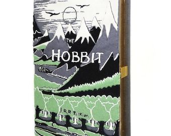 Book Purse - The Hobbit by J.R.R.Tolkien. Personalized book handbag with embroidered quote. Lord of the rings. Customizable book clutch bag
