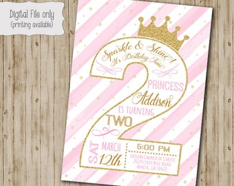 Second Princess Birthday Invitation  / Gold Glitter Birthday Invitation / 2nd Birthday Invitation / One, Pink, White, Gold, watercolor