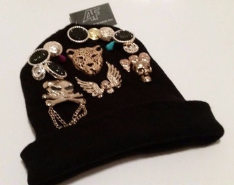 Black Embellished Beanie - Hand Sewn Decorations - One Of A Kind!