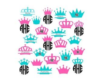 Princess Crown Svg, Crowns Svg, Monogram Crown Svg, Split Monogram Svg, Circle Monogram Svg, Cricut Cut Files, Silhouette Cut Files