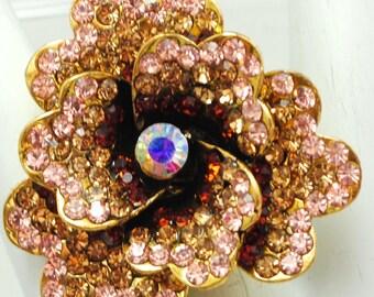 Ombre Gold/Statement Ring/Rose Gold/Burnt Orange/Aurora Borealis/Rhinestone/Wedding/Holiday Jewelry/Gift For Her/Adjustable/Under 20 USD