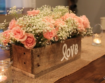 Rustic wedding centerpiece etsy wooden box centerpiece with handprinted customizable text rustic wedding centerpiece junglespirit Images