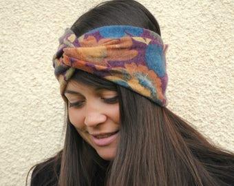 Boho headband, Flower headband, Ear warmer, Hippie headband, Fall headband, Winter headband, Wide headband, Knot headband, Twist headband