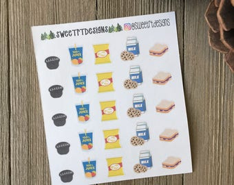 """Functional """"Snack Time"""" Planner Stickers"""