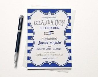 School Colors Graduation Invitations - Diploma Graduation Invitation - Printed or Printable | stripes high school college grad invites