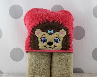Kids Girl Hedgehog Hooded Towel - Hedgehog Towel for Bath, Beach, or Swimming Pool - Children's Hedgehog Towel - Great Christmas Gift Idea!
