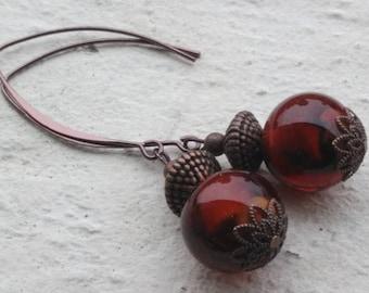 Earrings: glass Lampwork - chocolate - coffee