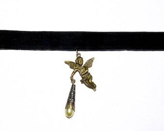 Angel choker necklace black velvet bronze victorian jewelry romantic gothic dark elegant lolita cupid dangle pearl cherub rococo baroque