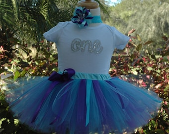 1st birthday baby girl ONE outfit,baby girl tutu outfit,tutu set first birthday,one year old girl birthday outfit,blue and silver girls